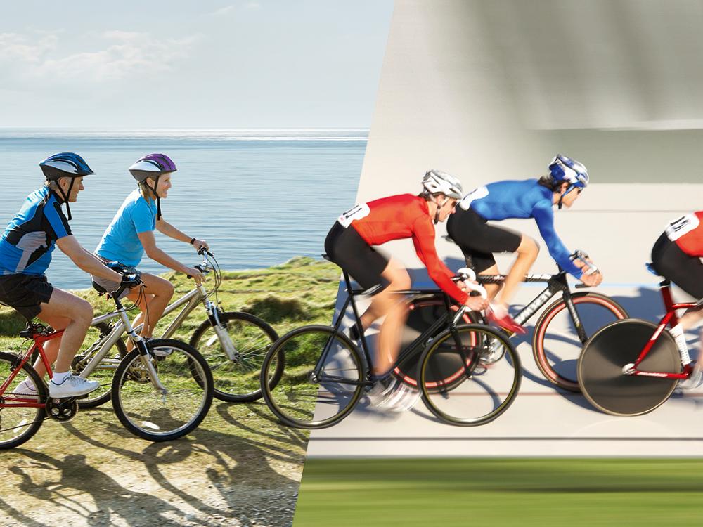 Mobiles Startseitenmotiv mit den Radfahrern für die Kampagne Sportmeister der VIACTIV