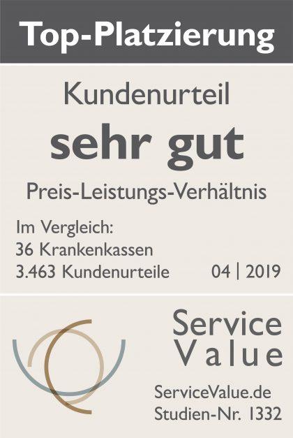 Service Value Kundenurteil sehr gut im Preis-Leistungs-Verhältnis